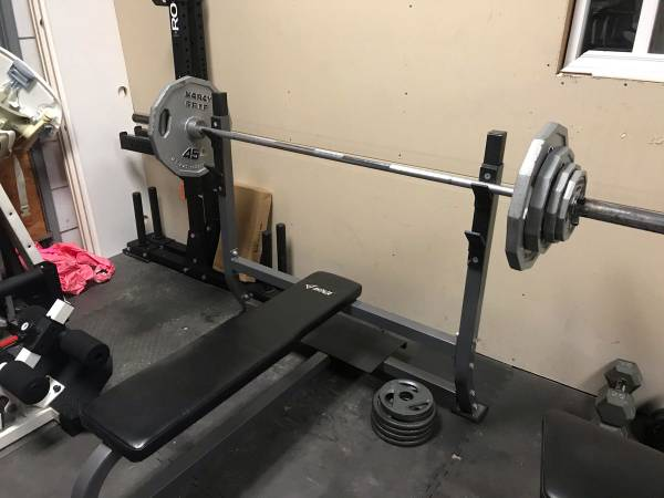 Photo Olympic Flat Bench Plus Bar and weight - $275 (Magic Valley)