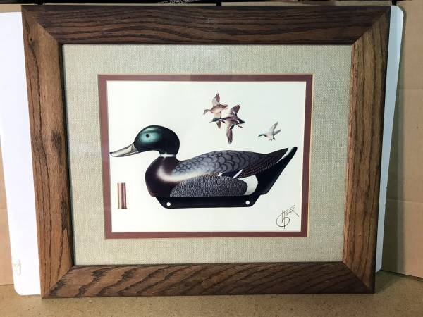 Photo Vintage 197039s Wood Framed Matted Mallard Duck Decoy Print Fisher NICE - $40 (Twin Falls)