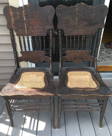 Photo 2 antique ladder back chairs, cane seats - $150 (allegany)