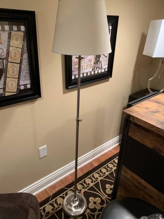 Photo Brushed Steel Floor L with Off-White Shade - $40 (East Amherst)