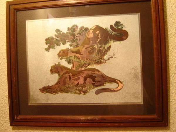 Photo Mountain Lions Cougars Color Foil Etch Print by Fred Sweney. Vintage - $35 (Niagara Falls)