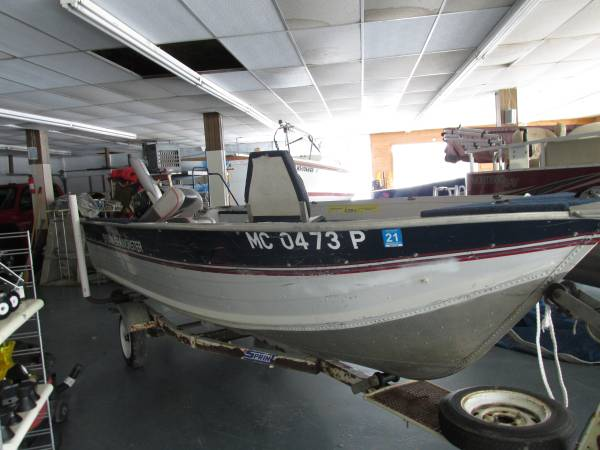 Photo 1990 15FT SEA MONSTER BOAT WITH 20HP ELECTRIC START 4 STROKE TILLER - $2695 (FORD RIVER)