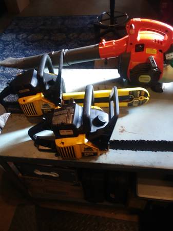 Photo Husqvarna gas powered leaf blower and 2 small chainsaws. - $50 (Gwinn)