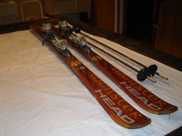 Photo Monster Head skis w poles - $95 (New Hartford)