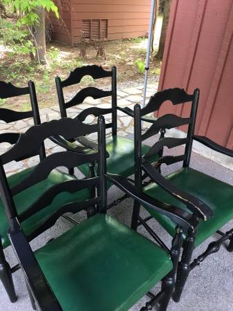 Photo Vintage Ladder back antique chairs, 4. - $800 (Old Forge)