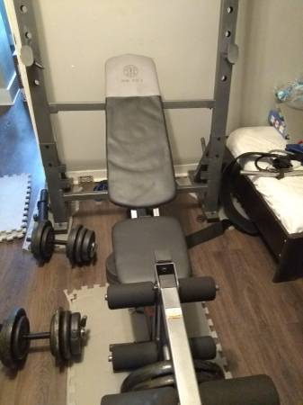 Photo Weight bench with leg attachment and squat rack - $150 (Frankfort)