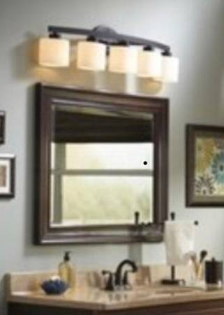 Photo NEW allen  roth Merington 5-Light Bronze Vanity Light Bar - $60 (Mandarin)
