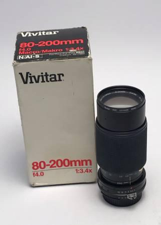 Photo Vivitar 80-200 mACRO zoom lens Nikon AI mount, manual focus,m f4.0 M - $50 (Saint Johns)