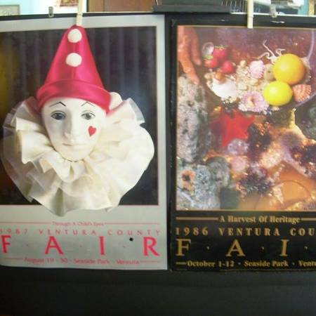 Photo 2 Ventura County Fair POSTERs 1986 Panning Gold 1987 Harlequin Clown - $30 (Thompson Blvd at MacMillan)