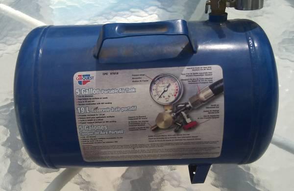 Photo 5 Gallon Compressed Air Tank, Compressor and Hose - $50 (Santa Paula)