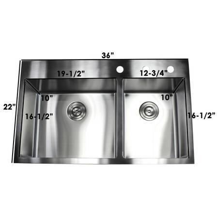 Photo Drop-In Stainless Steel Double Offset Bowl 3-Hole Kitchen Sink - $275