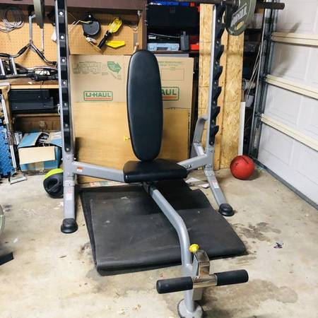 Photo Hoist Bench Press Weight Set w Handle Grip weights  Bar - $1,200 (Simi  T.O.)