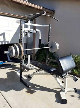 Photo Parabody Squat rack and bench with weight set Delivery is available - $580 (Newbury Park)