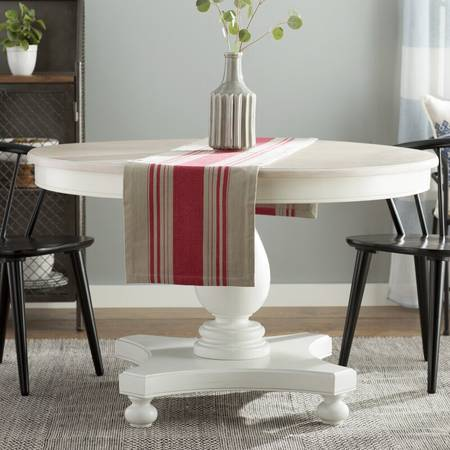 Photo Round Wood Dining Table White Distressed Finish - $549 (Camarillo)