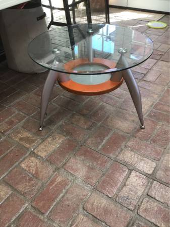 Photo Round beveled glass side table w metal legs - $50