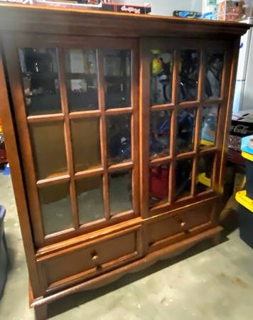 Photo Wood Bookshelf with Glass Doors - $60 (Simi Valley)