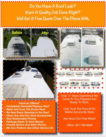 Photo RV Roof Coating On-site 10 Year No Leak Guarantee UV Protection - $1 (Victoria And Surrounding Areas)