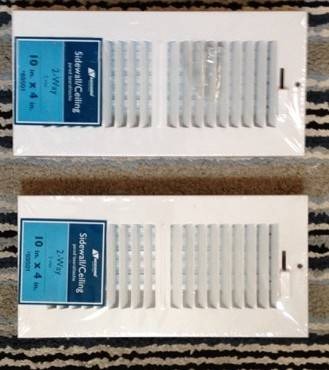 Photo AC VENTS (New) - TWO, WHITE, STEEL CEILING VENTS - IN WRAPPER WSCREWS - $10 (WacoHewitt)