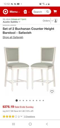 Photo Barstool Kitchen table chairs - $150
