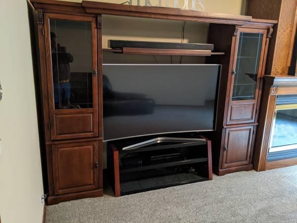 Photo 5 piece cherry expandable entertainment center TV surround - $250 (Cedar Falls)
