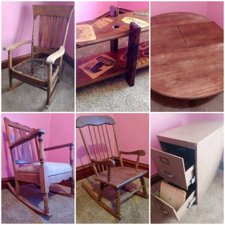 Photo Antique  Vintage Furniture Rocking Chairs Oak Dining Kitchen Table (Hawkeye)