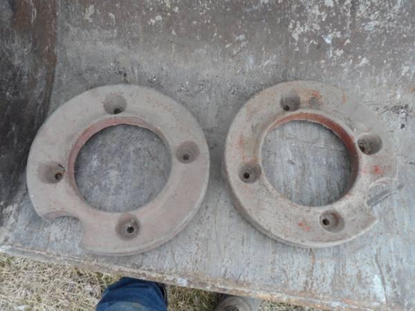Photo Cast iron garden tractor wheel weights - $100 (Iowa Falls)