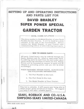 Photo David Bradley Garden Tractor Model Number 917-575105 (Waterloo)