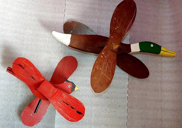 Photo Vintage Wood Cardinal and Mallard Duck Whirly Bird Wind Spinners - $20 (Hawkeye)