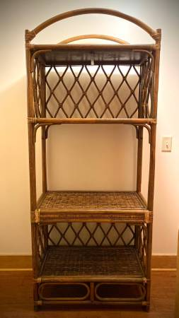 Photo Bamboo rattan book shelf linen case wall unit - $100 (Chaumont)