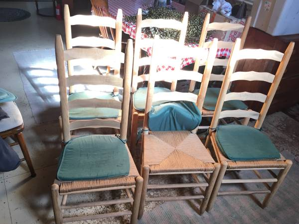 Photo Ladder backed chairs - 6, cord seat - $250 (Lorraine)