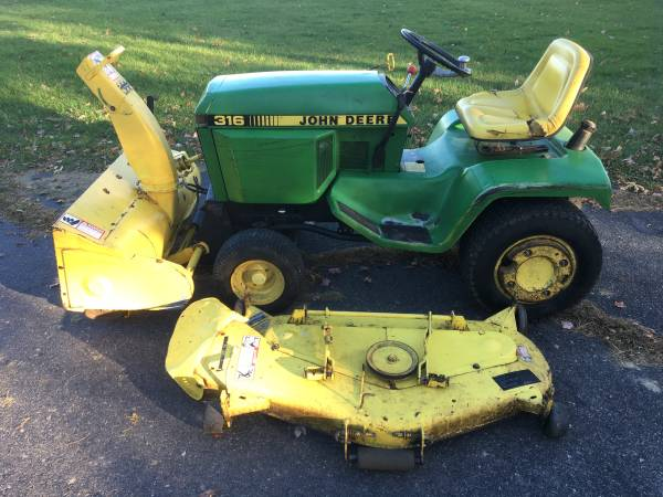 Photo John Deere 316 with Snowblower  Lawnmower Attachments - $1,449 (Wausau)
