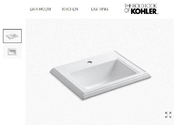 Photo KOHLER Memoirs K-2241-1-0 Classic Drop In Porcelain Bathroom Sink - $125 (Nekoosa)