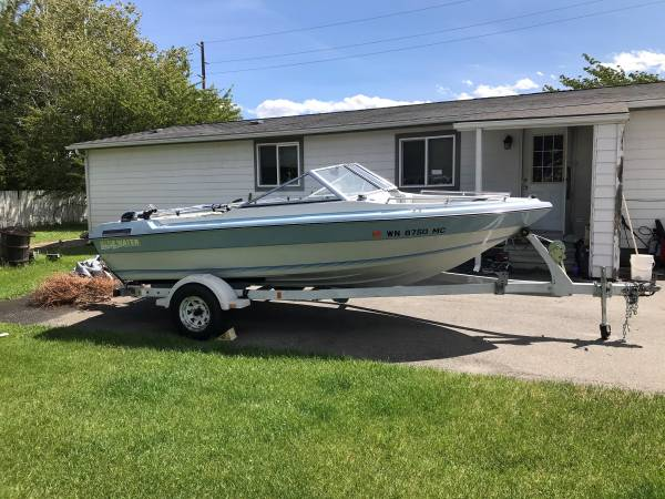 Photo 1989 Blue Water 16quot Open Bow w Shorelander Trailer - $1,500 (Wenatchee)