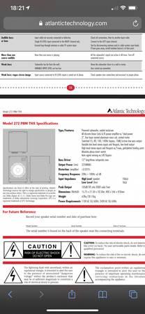 Photo Atlantic Technology 272BPM 12 THX subwoofer - $300 (Westfield)
