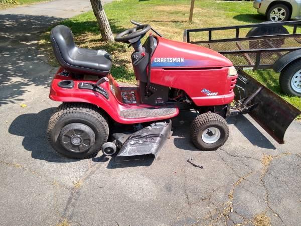 Photo Craftsman mower with snow plow - $600 (Athol)