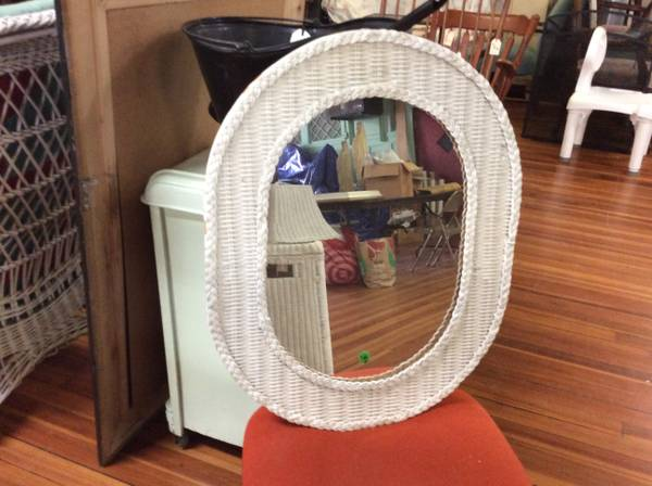 Photo Small White Wicker Oval Mirror - $10 (Holyoke)