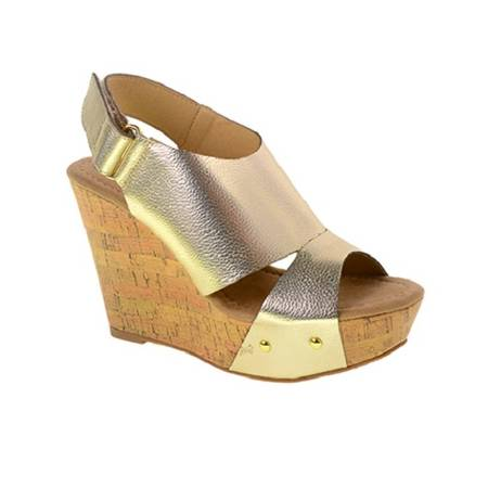 Photo new cl by laundry camden wedge platform sandals size 6 gold leather - $28 (SPRINGFIELD)