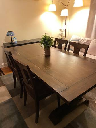 Photo Pier 1 Solid Wood Farmhouse 5 Piece Dining Table Set - $1,100 (Ellicott City)