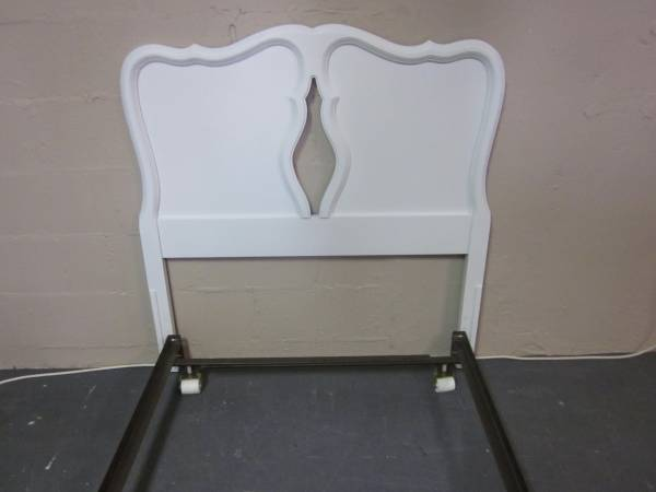 Photo White solid wood twin size headboard with bed frame - $145 (Hagerstown)
