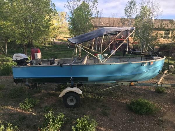 Photo 14 ft aluminum boat, motors, trailer - $1000 (Redlands GJ)