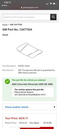 Photo New in box 2002 Chevy Silverado hood panel and Grille - $231 (Grand Junction)