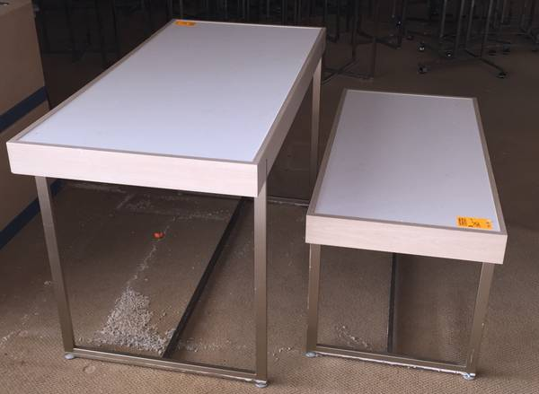 Photo Retail Store White Chrome Nesting Tables Retail Store Display Tables - $75 (Washington)