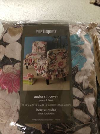 Photo Set 4 Pier One Dining Chair Covers - Audra flora pattern shabby chic - $75 (Colerain)