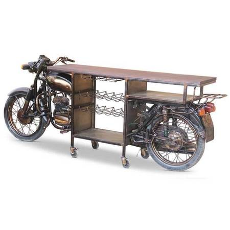Photo BRAND NEW AUTHENTIC VINTAGE MOTORCYCLE BAR WITH ROLLERS, VINE STORAGE RACK AND W - $1,598 (Wichita)