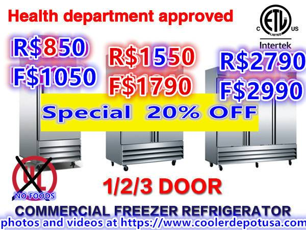 Photo NSF One  Two  Three-door Stainless Steel Reach-in Refrigerator - $850 (100 NEW)