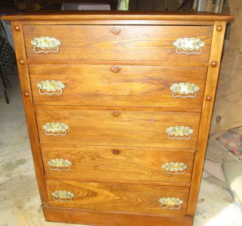 Photo Solid Oak Antique Upright Dresser - $275 (Between Andover and Augusta)