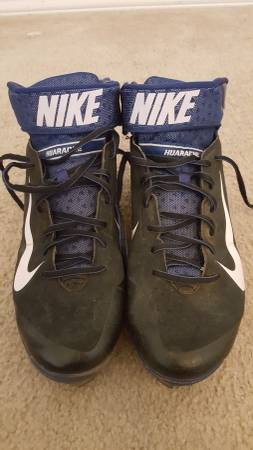 Photo Nike Huarache Pro Mid Metal Mens Baseball Cleats size 10.5 (Allen)