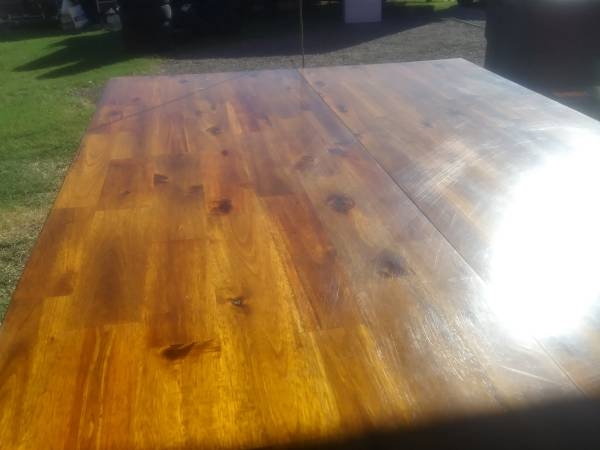 Photo Real Wood Counter Height Table w fold out leaf  3 chairs - $250 (Little Elm)
