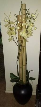 Photo Silk Plant Orchid Flower on Bamboo with Heavy Antique-looking Vase - $50 (Richardson)