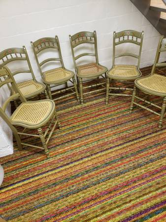 Photo 6 matching cain seat dinning chairs - $295 (Lewisburg)